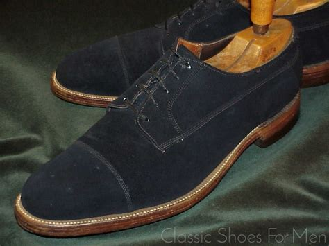 Antique American Blue Suede Cap-Toe Derby, Circa 1930; 45D