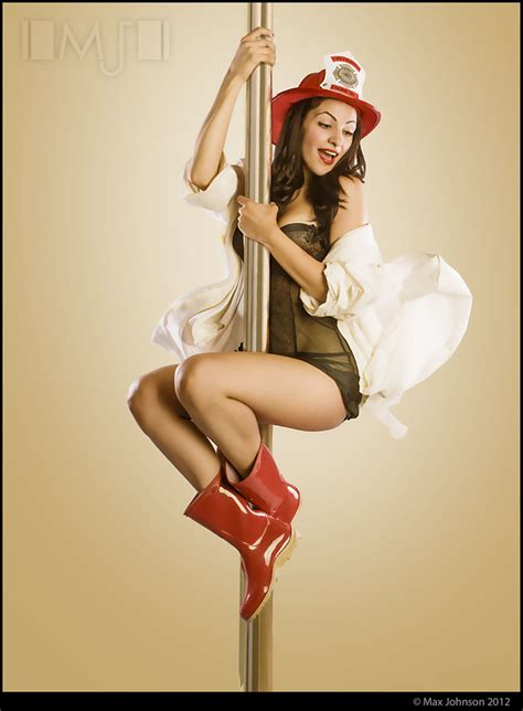 Pinup: Sliding On The Fireman's Pole | Rambunctious Red