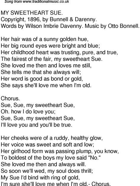 Old Time Song Lyrics for 58 My Sweetheart Sue