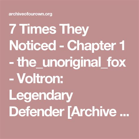 7 Times They Noticed - Chapter 1 - the_unoriginal_fox